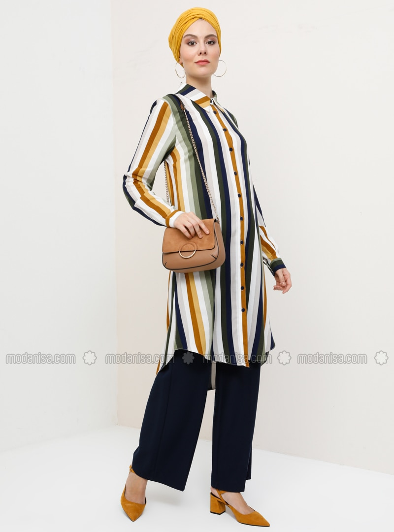 Khaki - Mustard - Stripe - Point Collar - Viscose - Tunic