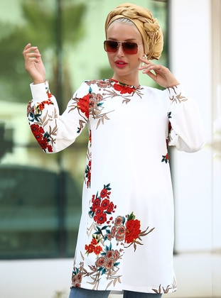 White - Brown - Floral - Crew neck - Tunic