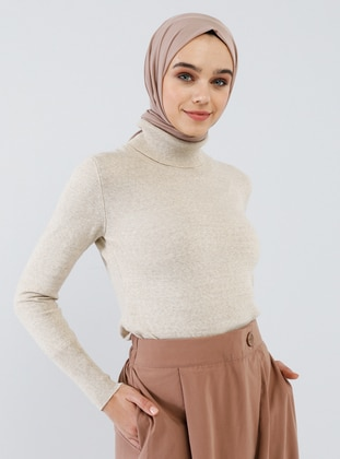 Beige - Polo neck - Acrylic -  - Jumper