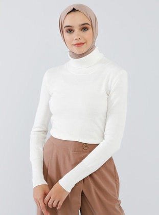 White - Ecru - Polo neck - Acrylic -  - Jumper