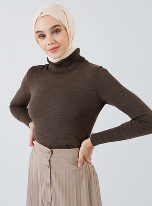 Brown - Polo neck - Acrylic -  - Jumper