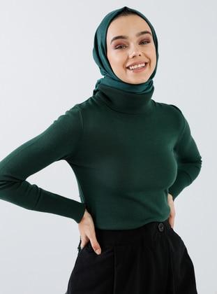 Green - Emerald - Polo neck - Acrylic -  - Jumper