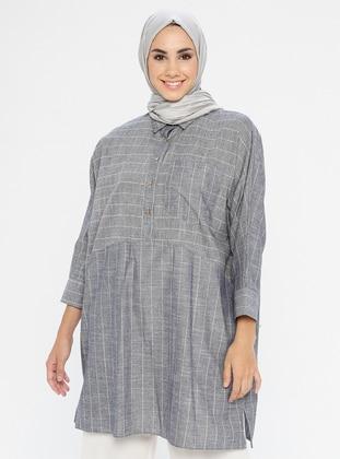 Gray - Stripe - Point Collar - Tunic