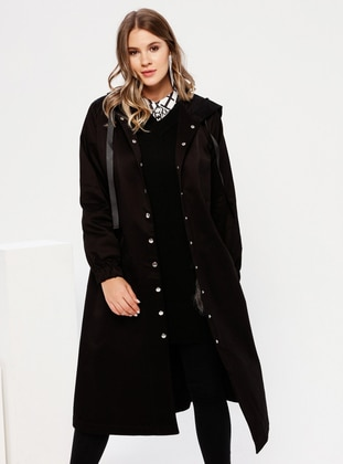 Black - Unlined -  - Plus Size Coat