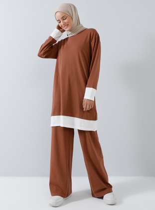 Tan - Cotton - Crew neck - Tracksuit Set