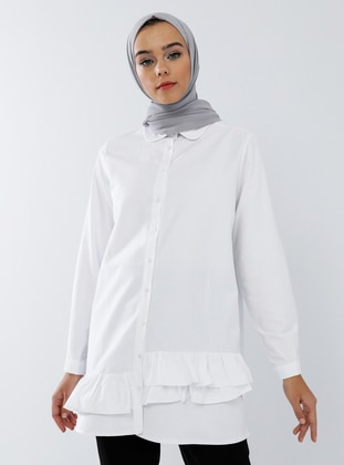 White - Ecru - Round Collar -  - Tunic