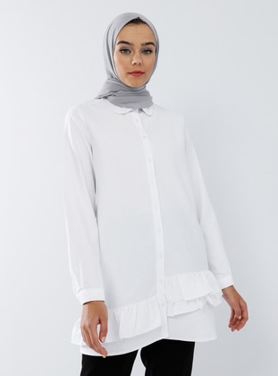 White - Ecru - Round Collar -  - Tunic