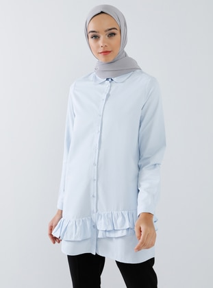 Blue - Round Collar -  - Tunic