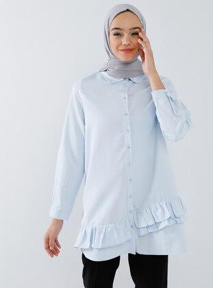 Blue - Round Collar -  - Tunic