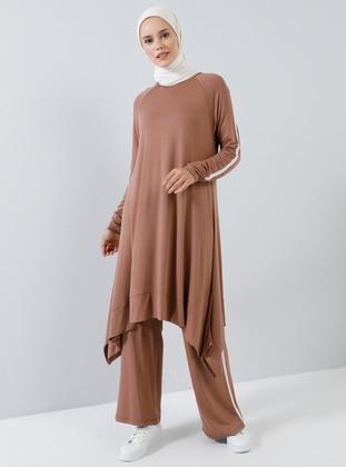 Brown - Unlined - Viscose - Suit
