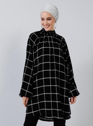 Black - Checkered - Polo neck - Viscose - Tunic