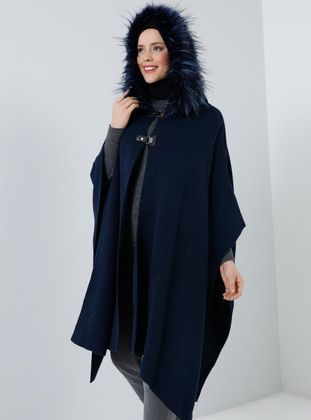 Navy Blue - Unlined - Acrylic -  - Poncho - Benin