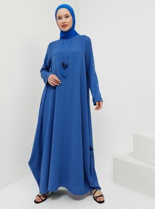 Blue - Saxe - Crew neck - Unlined - Dress