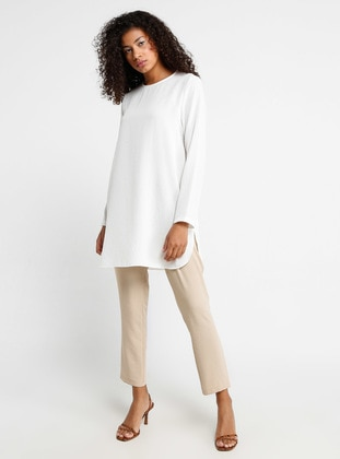 White - Ecru - Crew neck - Tunic