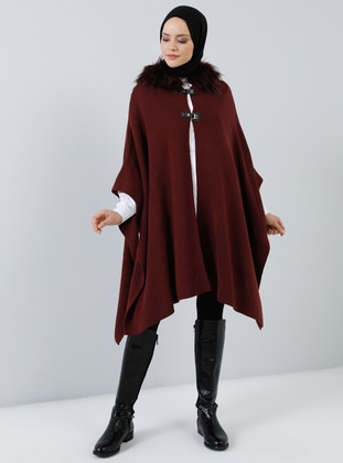 Cherry - Unlined - Acrylic -  - Poncho