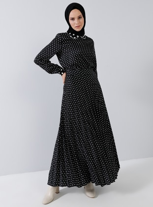 Black - Polka Dot - Unlined - Skirt