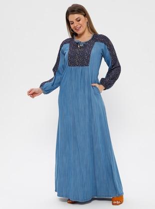 Blue - Navy Blue - Multi - Unlined - Plus Size Dress