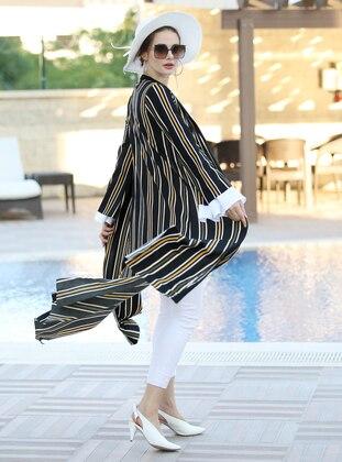Black - Yellow - Stripe - Unlined - Shawl Collar - Jacket