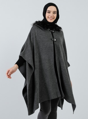 Anthracite - Unlined - Acrylic -  - Poncho - Benin