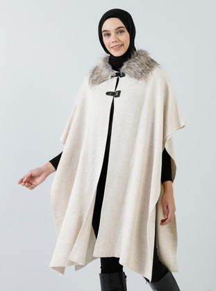 Beige - Point Collar - Unlined - Acrylic -  - Poncho