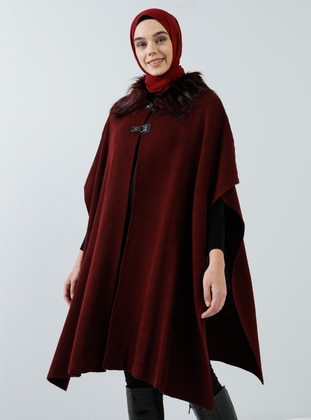 Maroon - Point Collar - Unlined - Acrylic - - Poncho