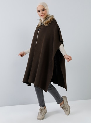 Brown - Point Collar - Unlined - Acrylic - - Poncho