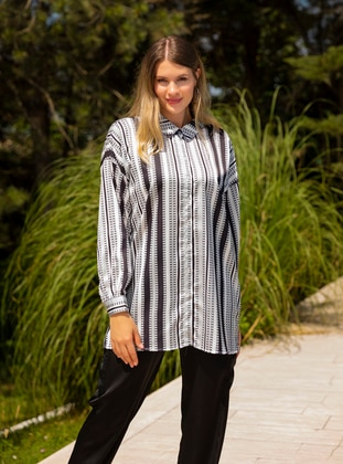 Black - Stripe - Multi - Point Collar - Plus Size Tunic - Alia