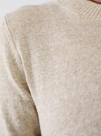 Beige - Crew neck - Acrylic -  - Jumper