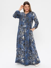 Blue - Navy Blue - Indigo - Multi - Unlined - Crew neck - Plus Size Dress - Ginezza