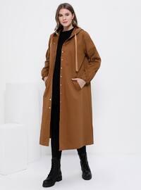 Camel - Unlined -  - Plus Size Coat