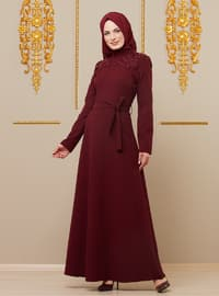 Maroon - Multi - Crew neck - Unlined - Viscose - Dress