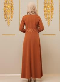 Orange - Multi - Crew neck - Unlined - Viscose - Dress