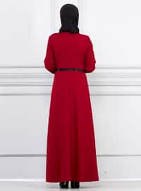 Maroon - Crew neck - Unlined - Viscose - Dress