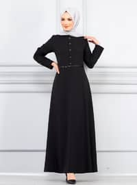 Black - Crew neck - Unlined - Viscose - Dress