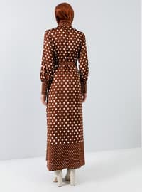 Cinnamon - Polka Dot - Crew neck - Unlined - Dress