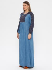 Blue - Navy Blue - Multi - Unlined - Plus Size Dress - Ginezza