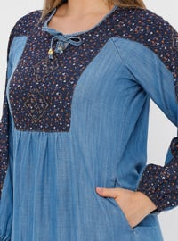 Blue - Navy Blue - Multi - Unlined - Plus Size Dress - Ginezza