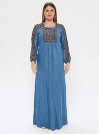 Navy Blue - Purple - Multi - Unlined - Plus Size Dress - Ginezza