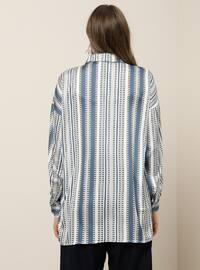 Blue - Indigo - Stripe - Multi - Point Collar - Plus Size Tunic