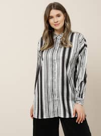 Black - Stripe - Multi - Point Collar - Plus Size Tunic