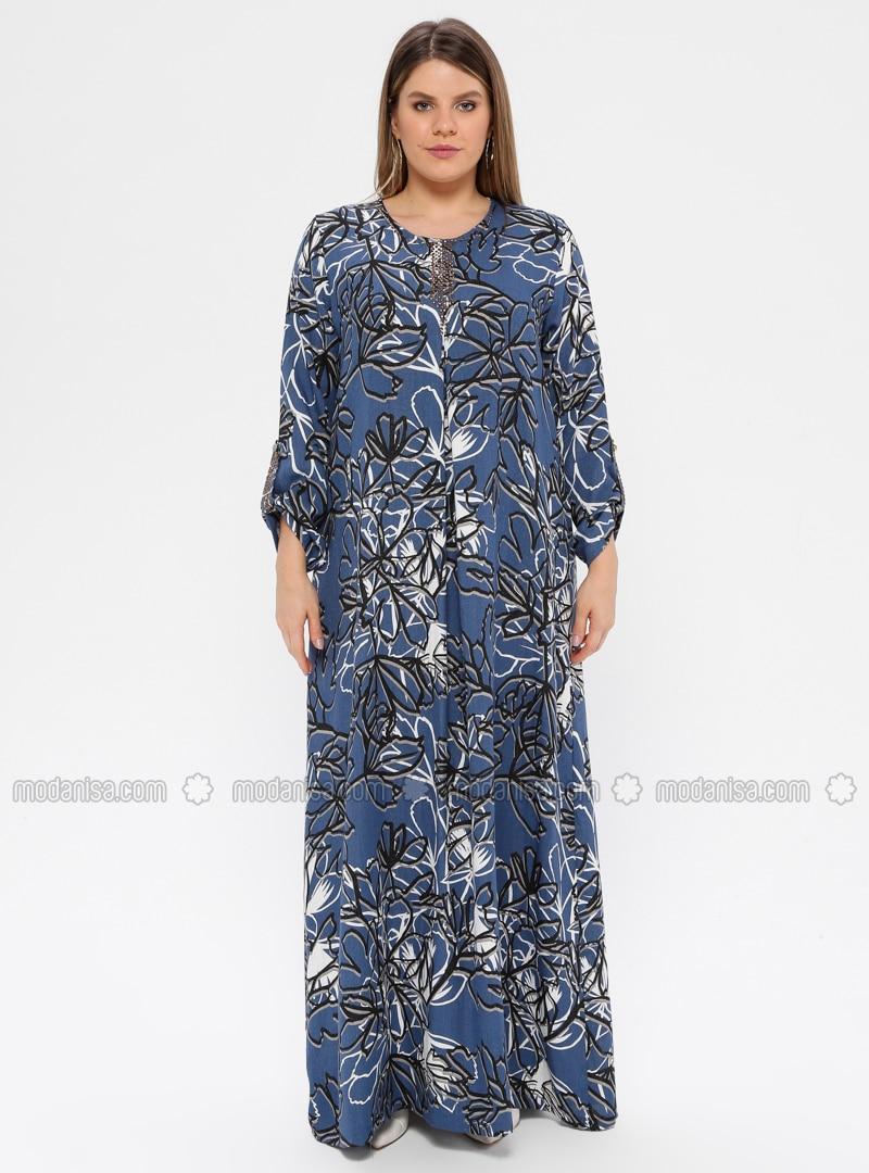 Blau - Marineblau - Indigo - Bunt - Ohne Innenfutter - Rundhalsausschnitt -  Kleid G.G. - Ginezza