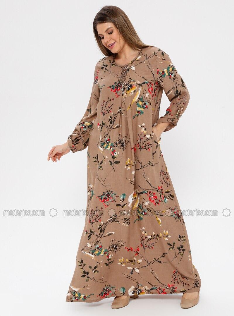 Brown - Multi - Unlined - Crew neck - Plus Size Dress - Ginezza