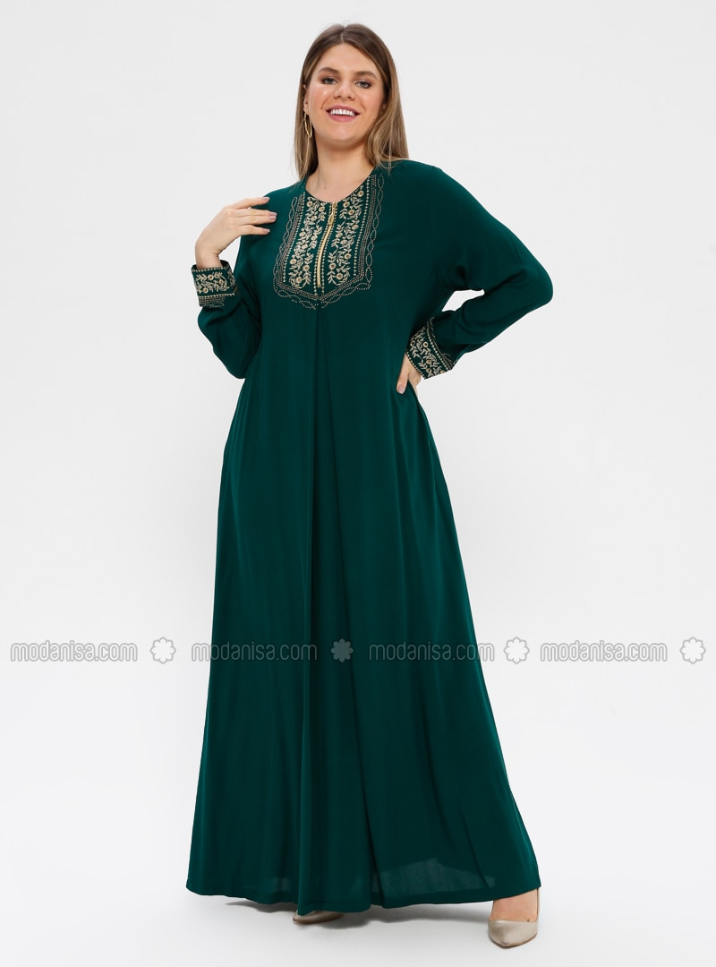Green - Emerald - Unlined - Crew neck - Viscose - Plus Size Dress - Ginezza
