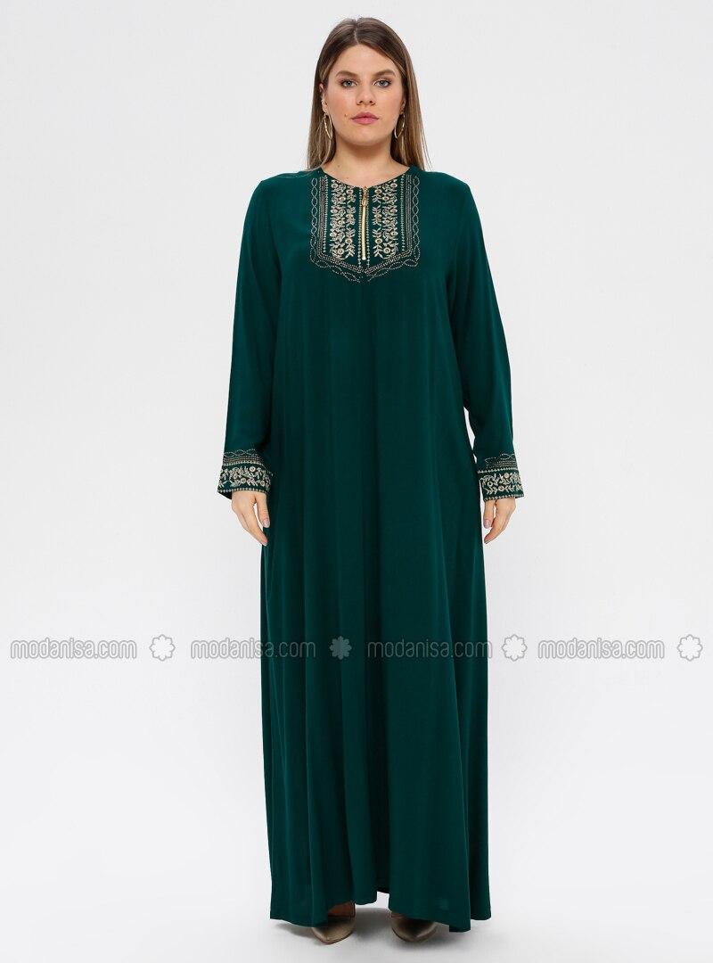 Green - Emerald - Unlined - Crew neck - Viscose - Plus Size Dress - Ginezza