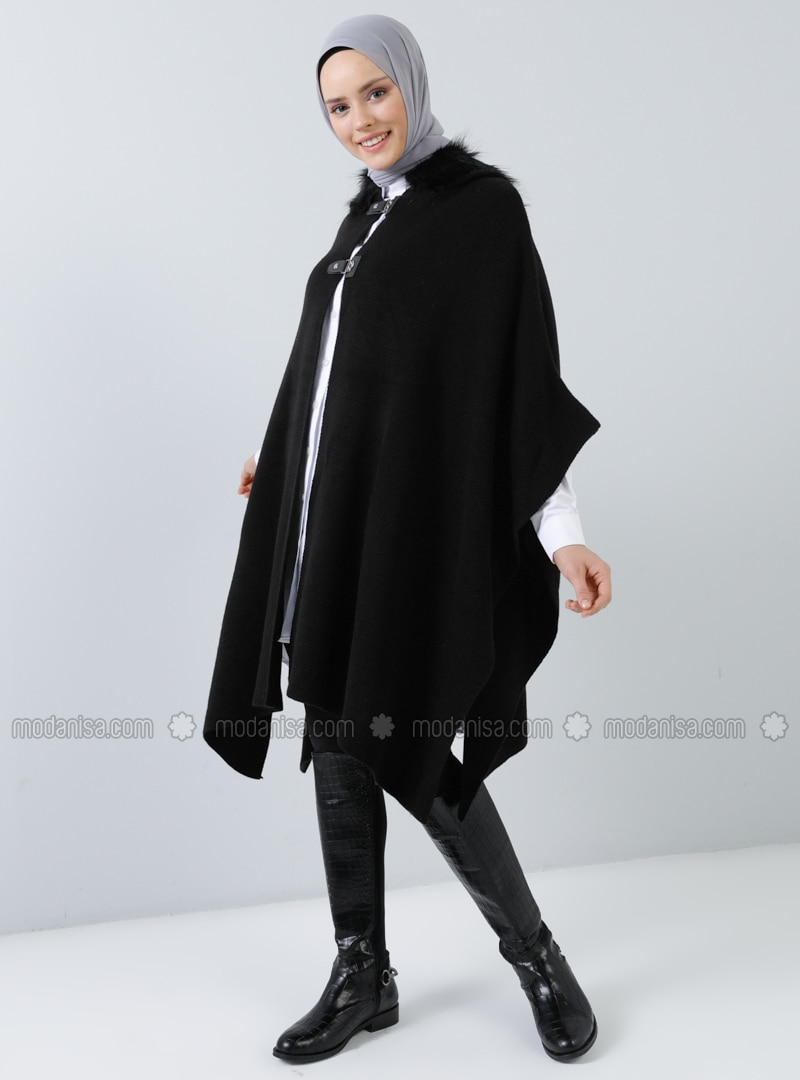 Black - Unlined - Acrylic -  - Poncho