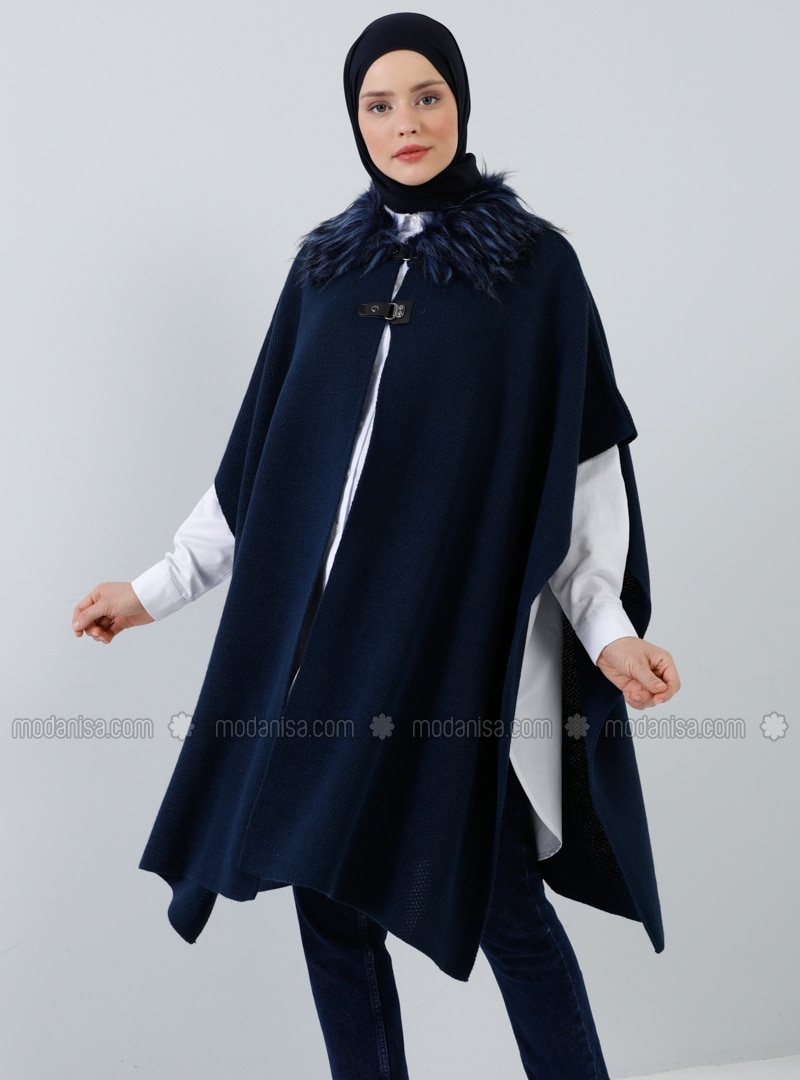 Navy Blue - Point Collar - Unlined - Acrylic -  - Poncho