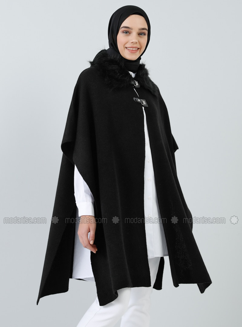 Black - Point Collar - Unlined - Acrylic -  - Poncho