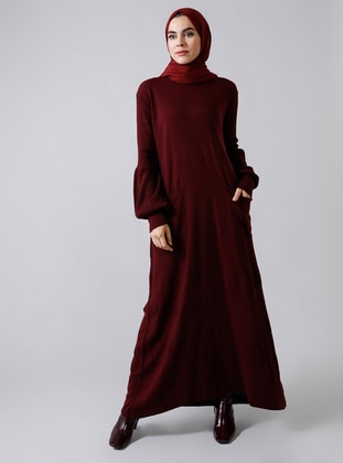 Maroon - Crew neck - Unlined - Acrylic -  - Dress - Refka