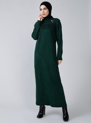 Emerald - Crew neck - Unlined - Acrylic -  - Dress