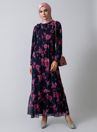 Navy Blue - Floral - Crew neck - Fully Lined - Dress